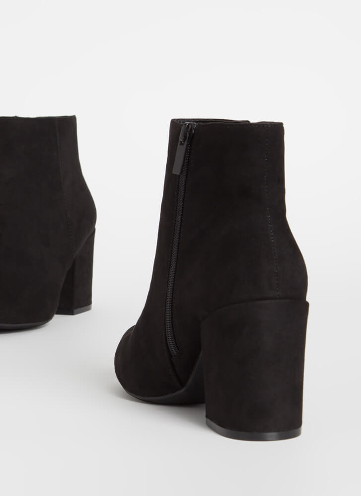 Around The Block Faux Suede Booties BLACK
