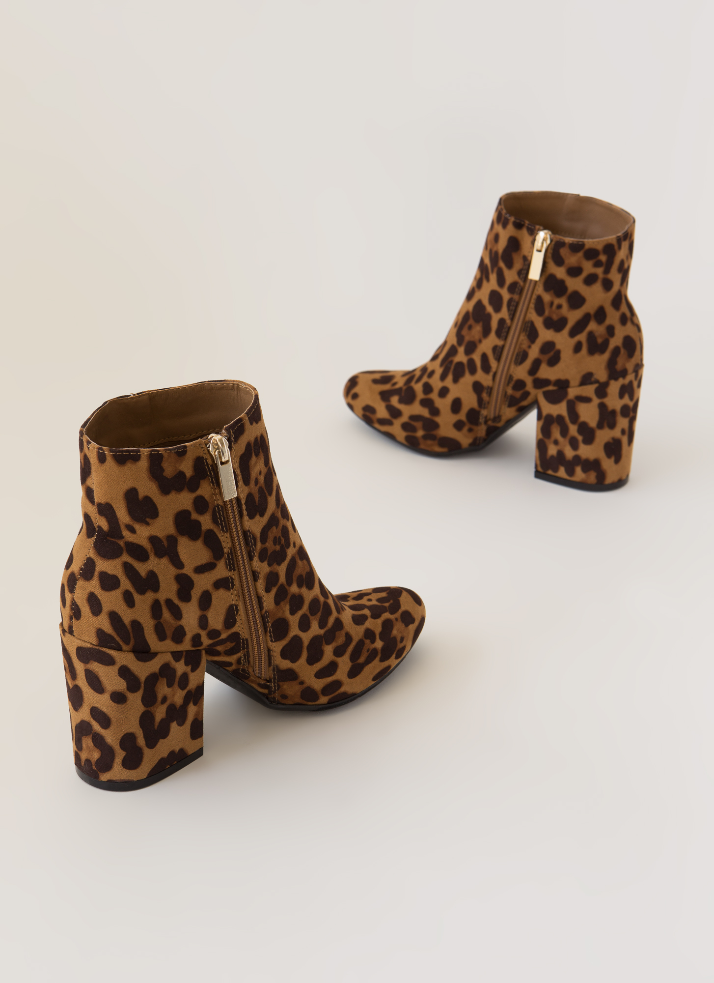 Around The Block Faux Suede Booties LEOPARD