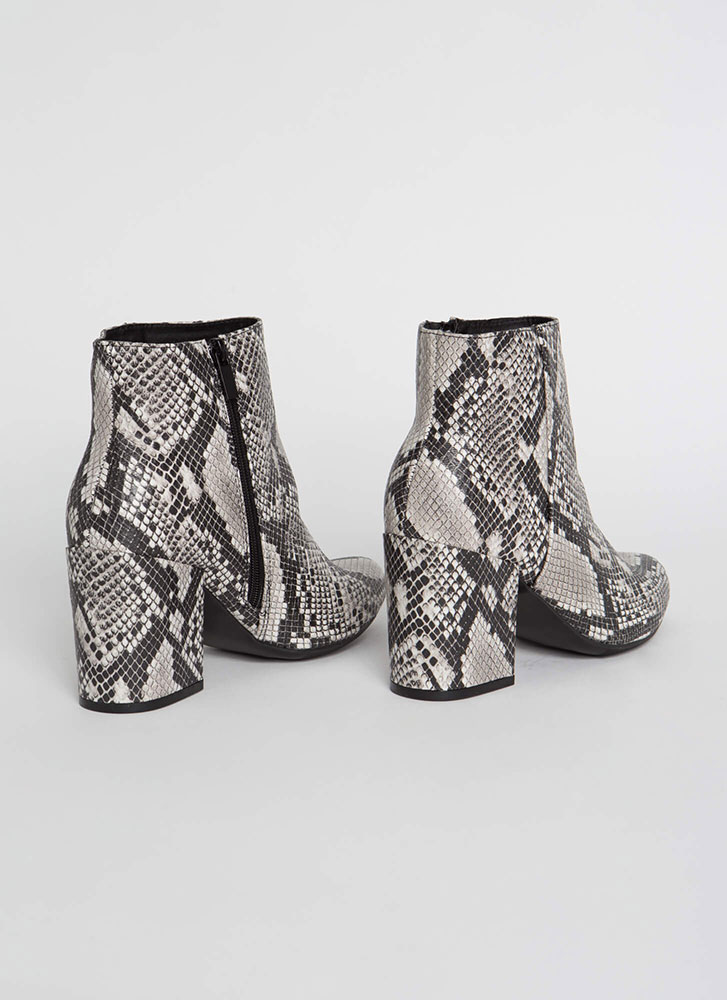 Around The Block Faux Snake Booties BLACK