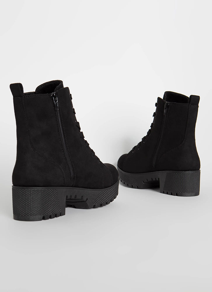 Hard At Work Lug Sole Platform Boots BLACK