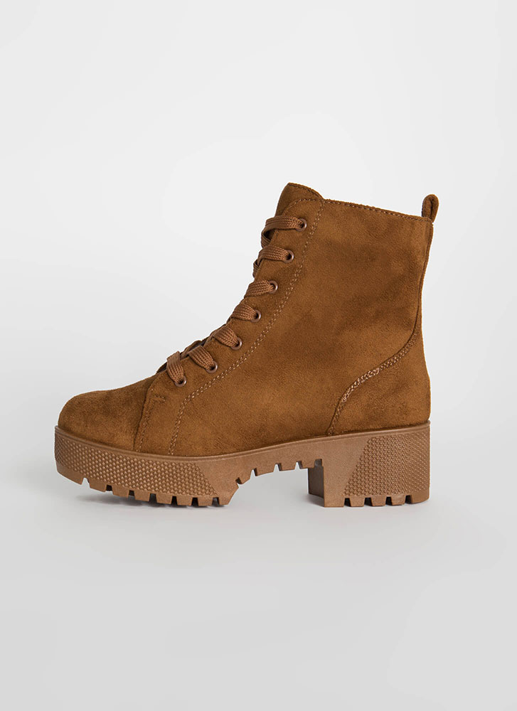 Hard At Work Lug Sole Platform Boots TOBACCO