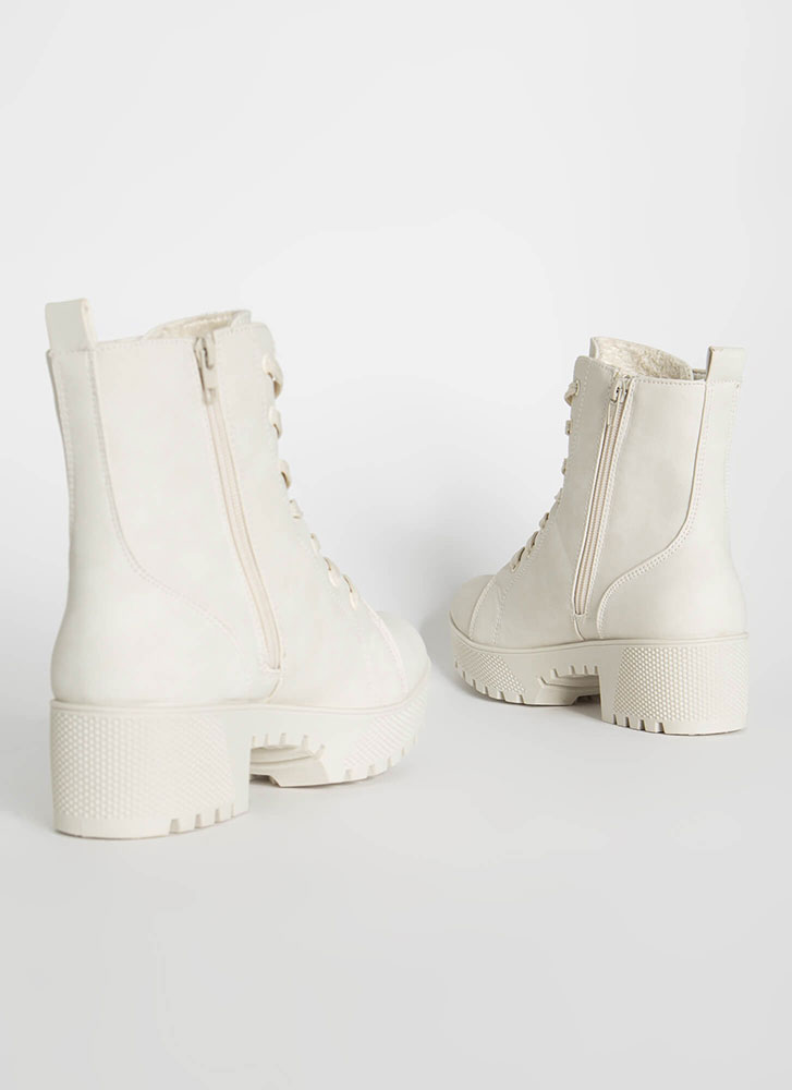 Hard At Work Lug Sole Block Heel Boots WHITE
