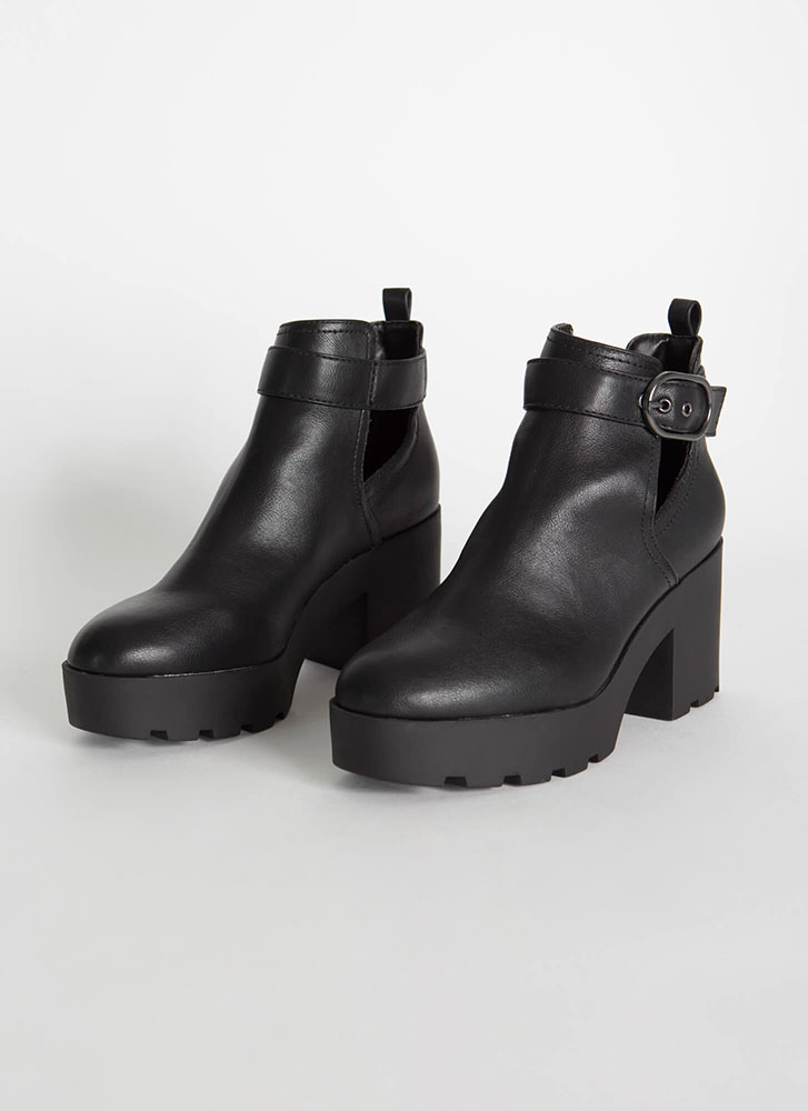 Strap In Faux Leather Block Heel Booties BLACK