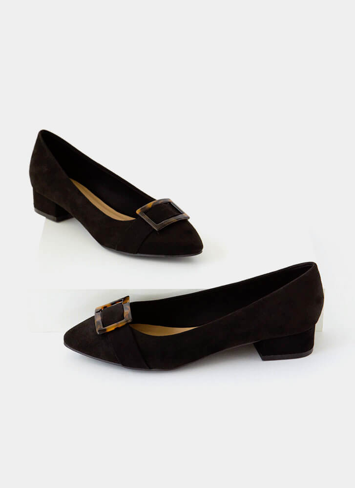 Proper Introduction Buckled Flats BLACK