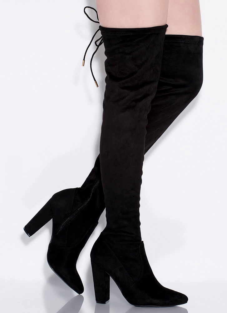 Perfect Chunky Tied Thigh-High Boots BLACK (Final Sale)