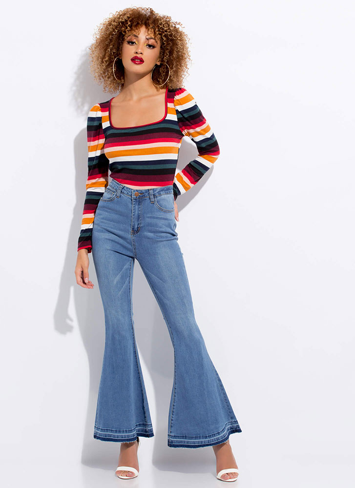 That 70's Striped Puffy Sleeve Top MULTI