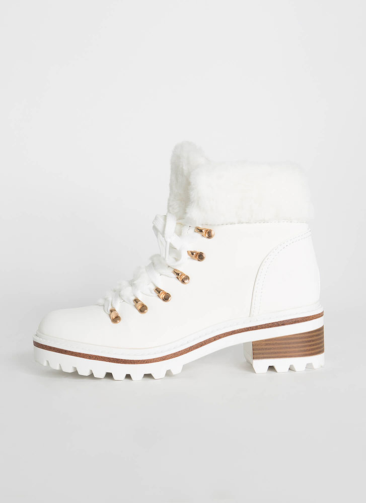 Fur The Cold Faux Nubuck Lug Boots WHITE