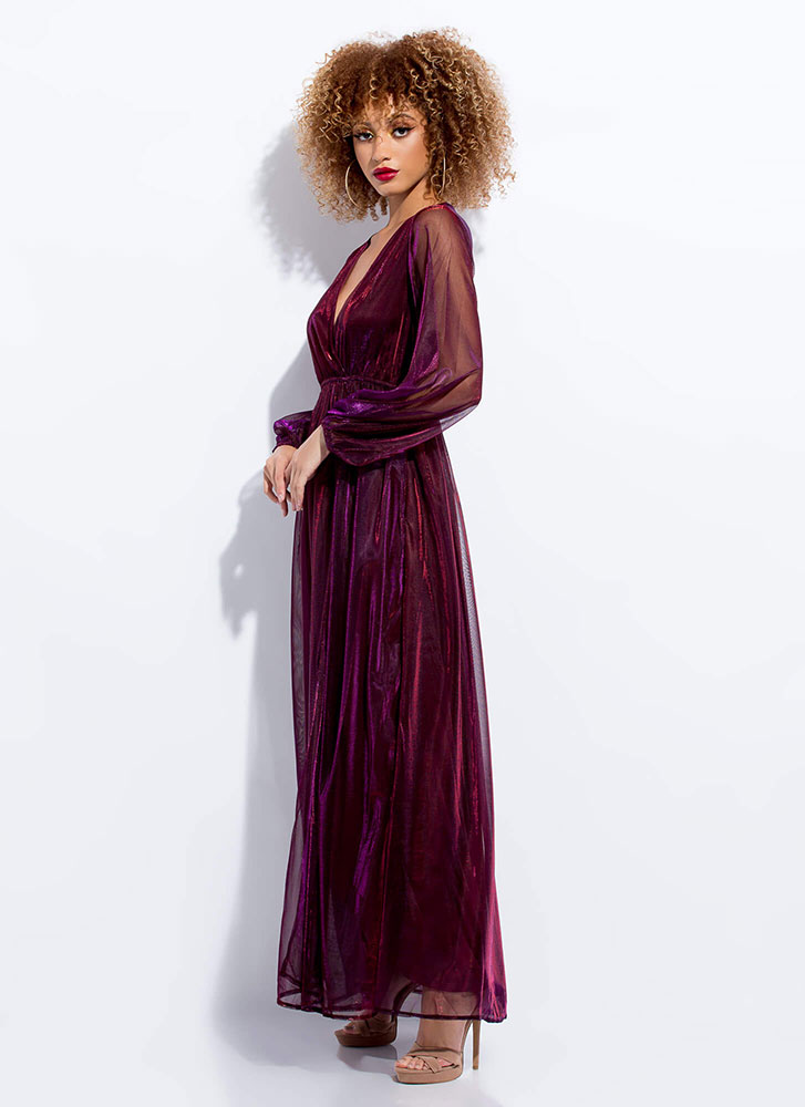 Sheer And Shimmery Layered Maxi Dress BURGUNDY