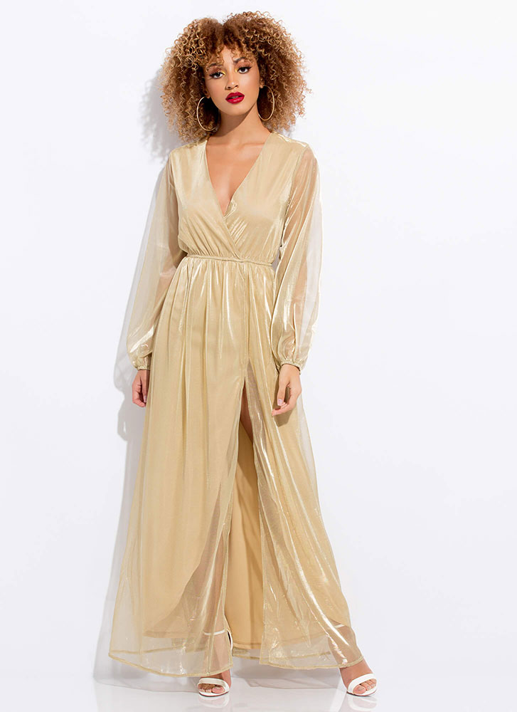 Sheer And Shimmery Layered Maxi Dress GOLD