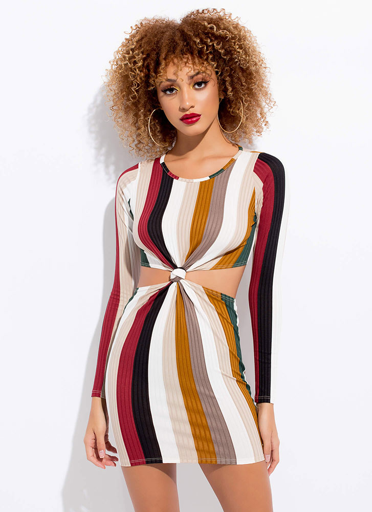 Your Knot From Here Striped Minidress MULTI