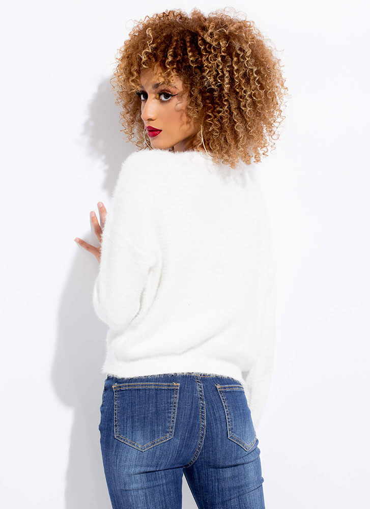 Soft Voice Fuzzy Furry Knit Sweater OFFWHITE