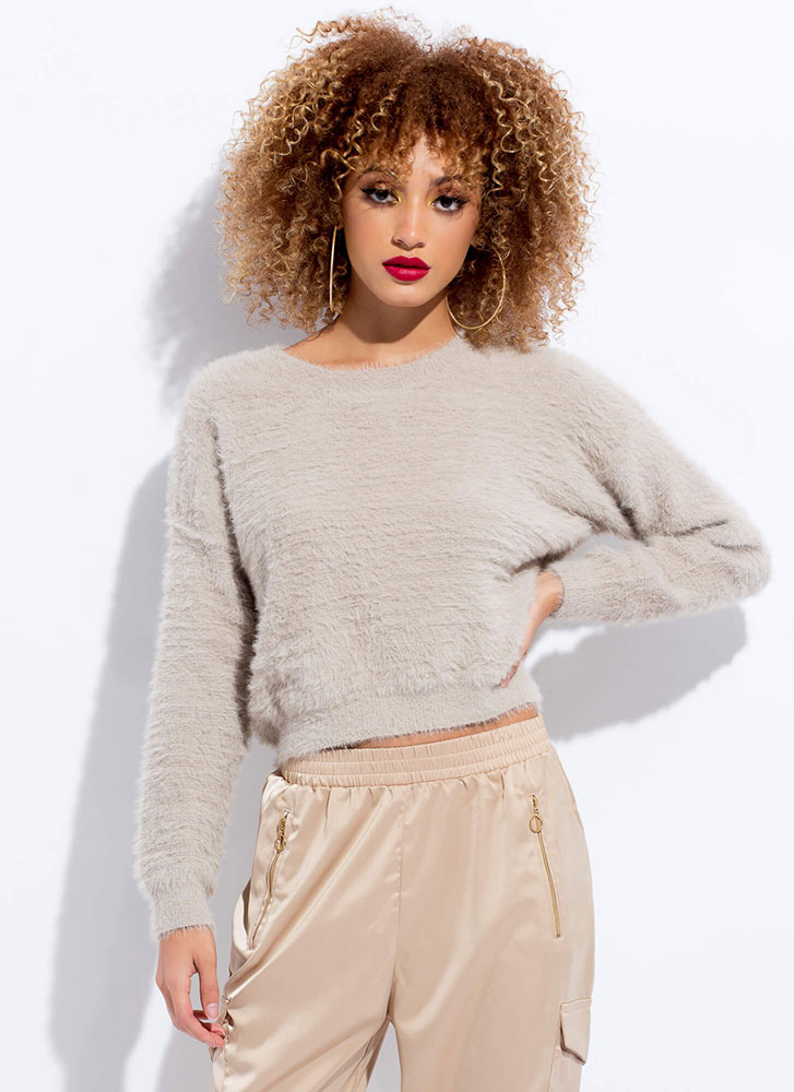 Soft Voice Fuzzy Furry Knit Sweater STONE