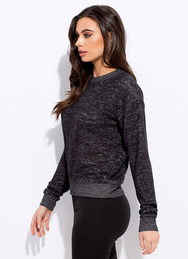 Getting Cozy Marled Knit Sweater BLACK