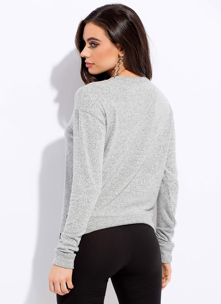 Getting Cozy Marled Knit Sweater HGREY
