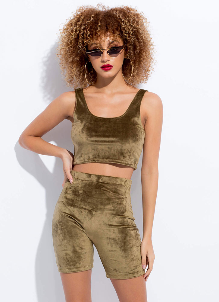 Soft Serve Velvet Biker Shorts OLIVE