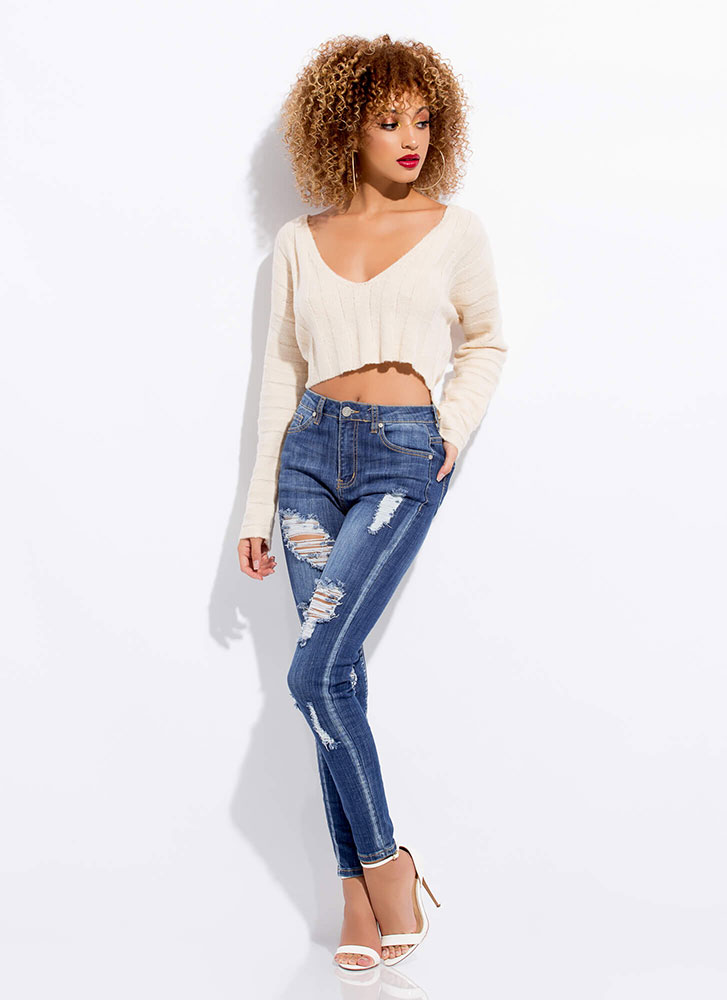 Hot And Cold Cropped Rib Knit Sweater CREAM