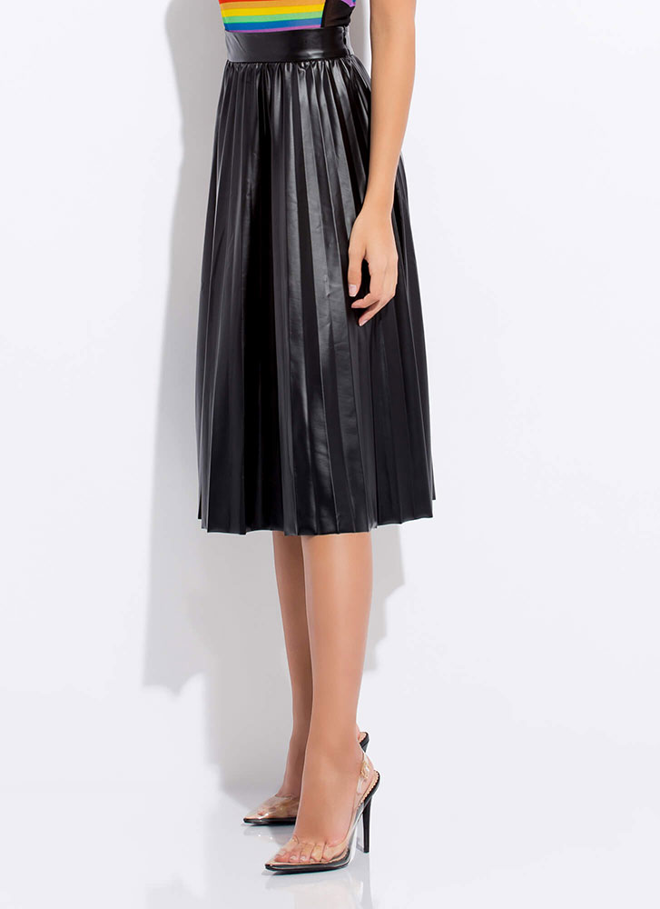 Begged And Pleated Faux Leather Skirt BLACK