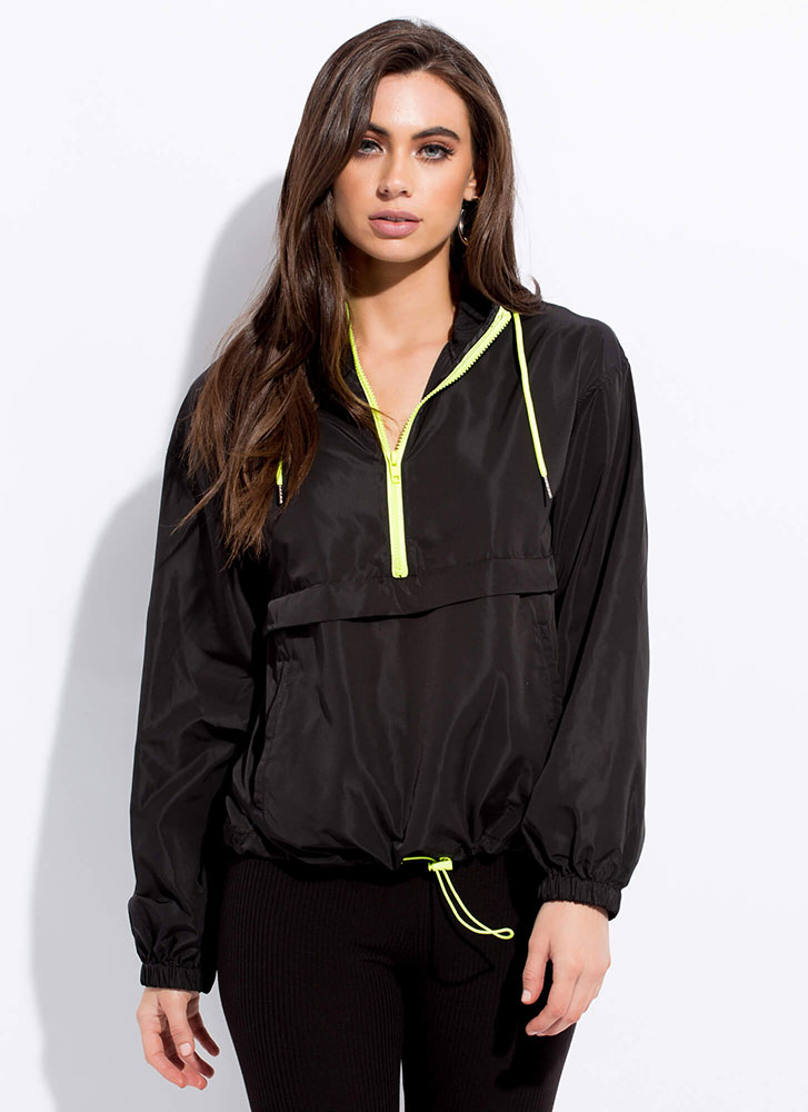 Ath Your Leisure Hooded Windbreaker Top BLACK