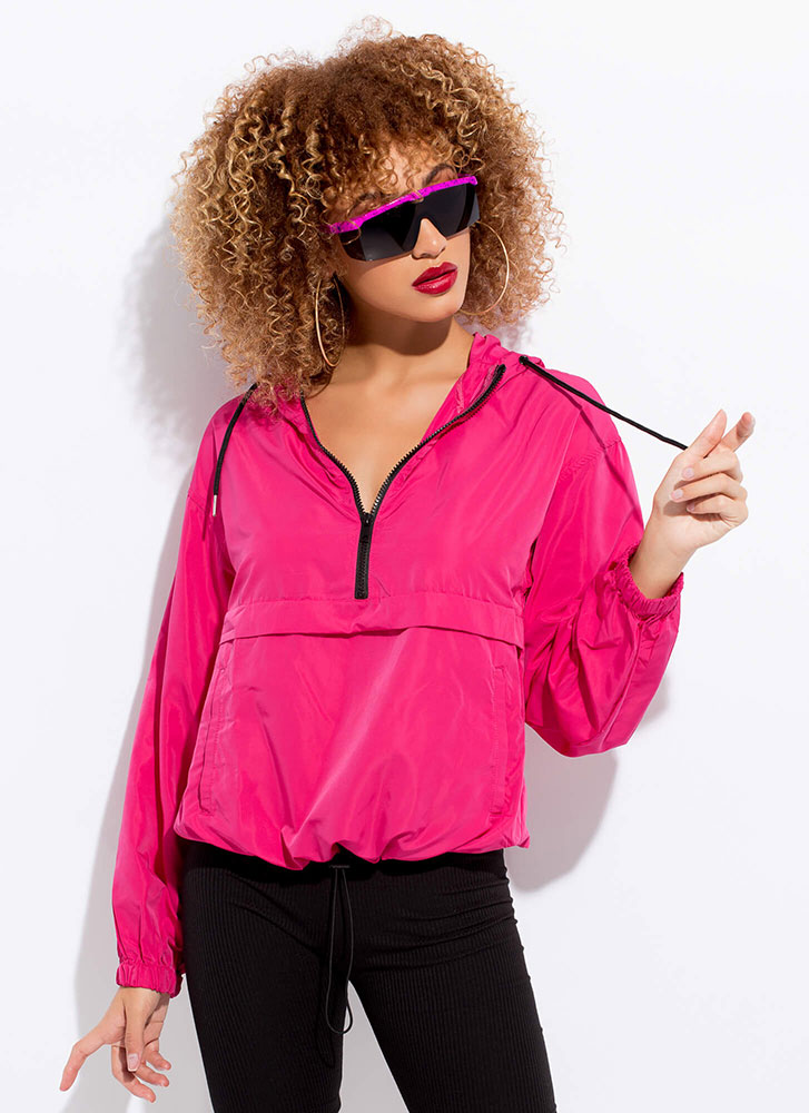 Ath Your Leisure Hooded Windbreaker Top PINK