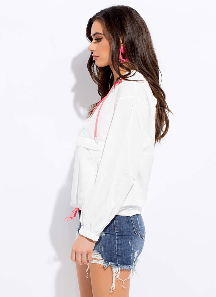 Ath Your Leisure Hooded Windbreaker Top WHITE