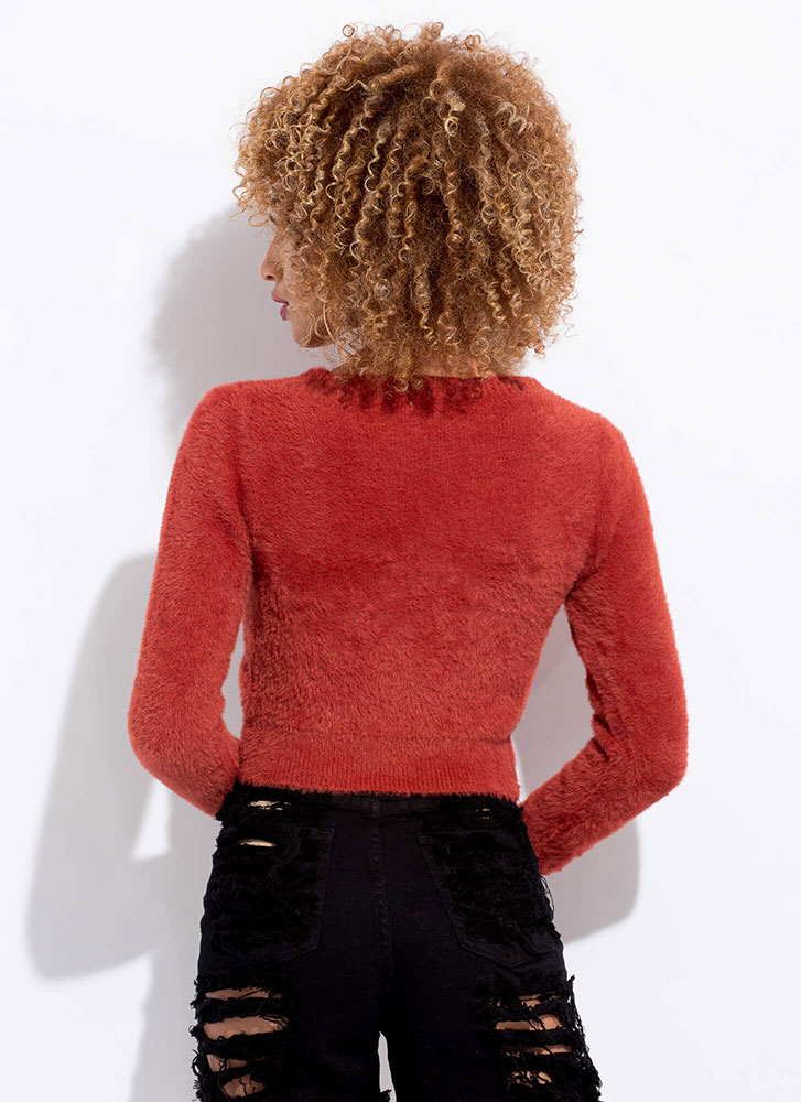Just Fur You Twist-Front Cropped Sweater RUST