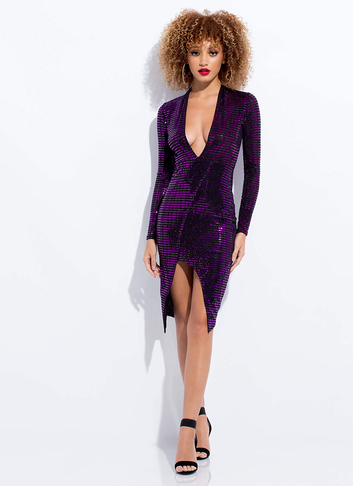 Sparkly Night Plunging Sequin Dress PURPLE
