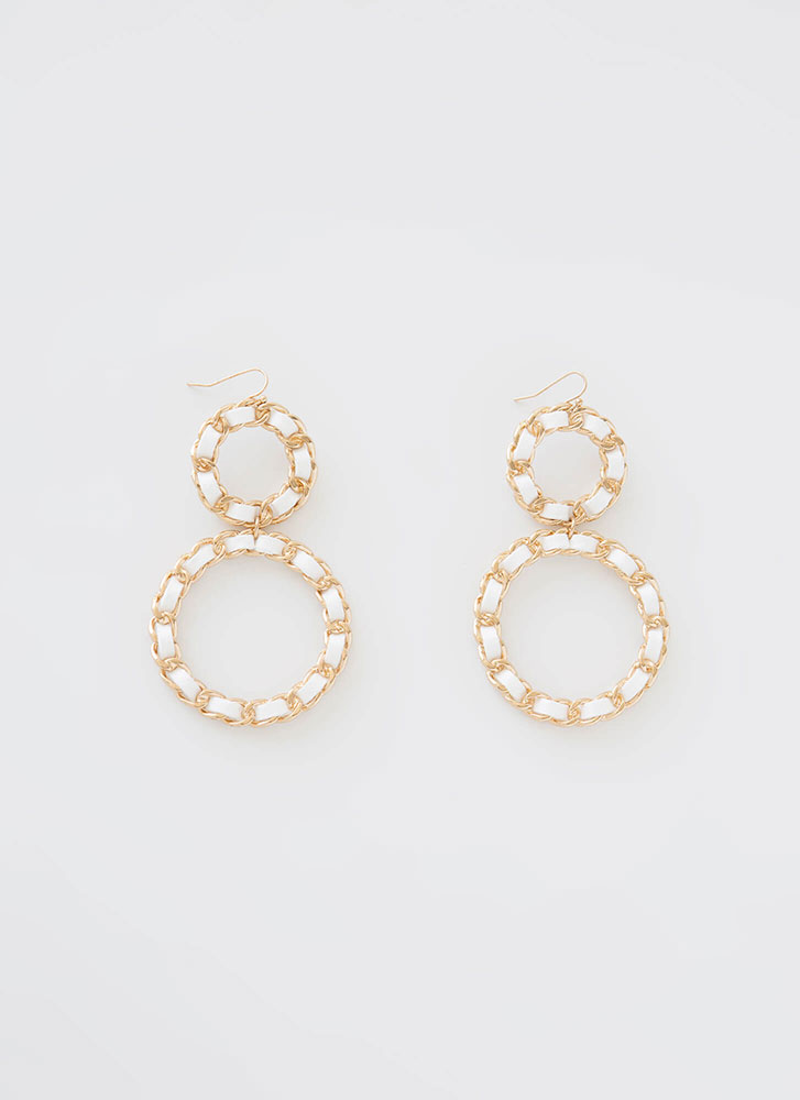 Jump Thru Hoops Chain Ring Earrings WHITE