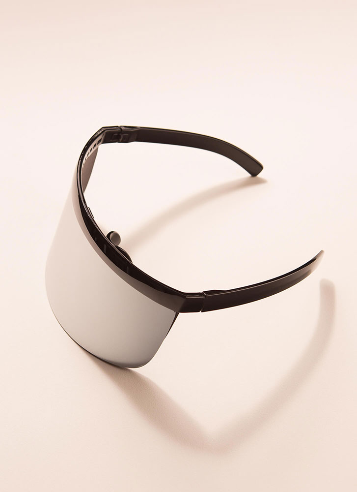 Your Fate Is Shield Visor Sunglasses PEWTER