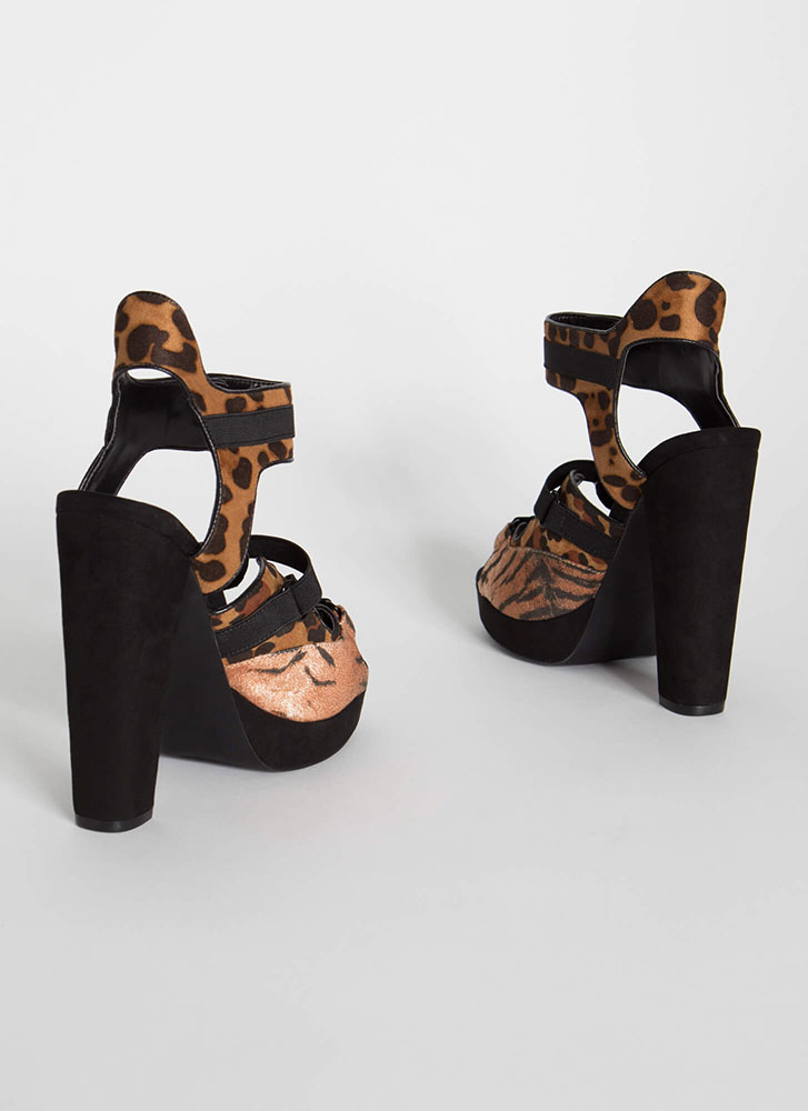 Animal Instincts Buckled Cut-Out Heels LEOPARD