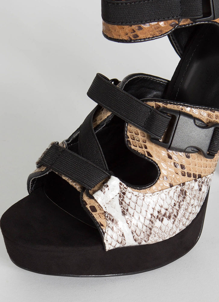 Animal Instincts Buckled Cut-Out Heels SNAKE