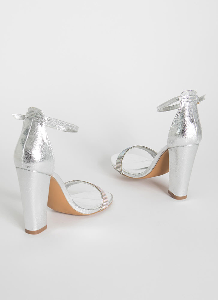My Time To Shine Rhinestone Strap Heels SILVER