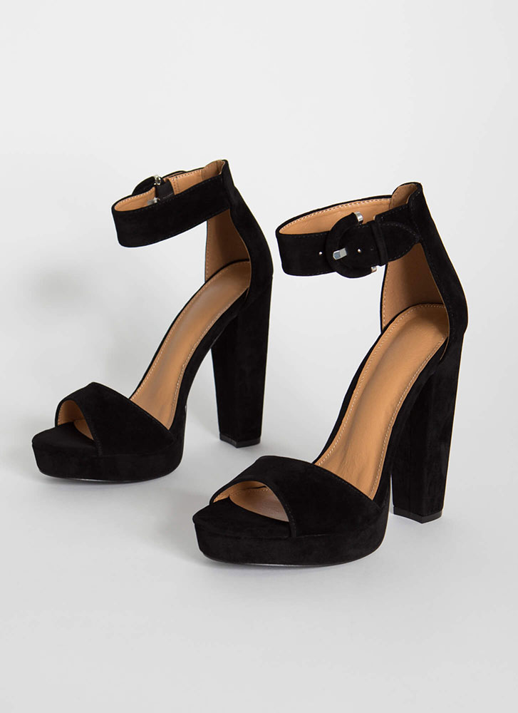 Picture Perfect Chunky Platform Heels BLACK