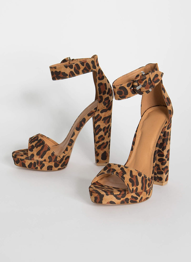 Picture Perfect Chunky Platform Heels LEOPARD