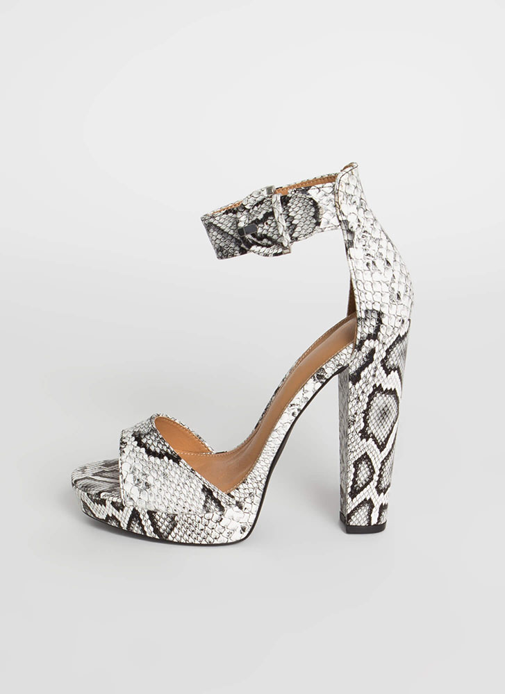 Picture Perfect Chunky Platform Heels SNAKE