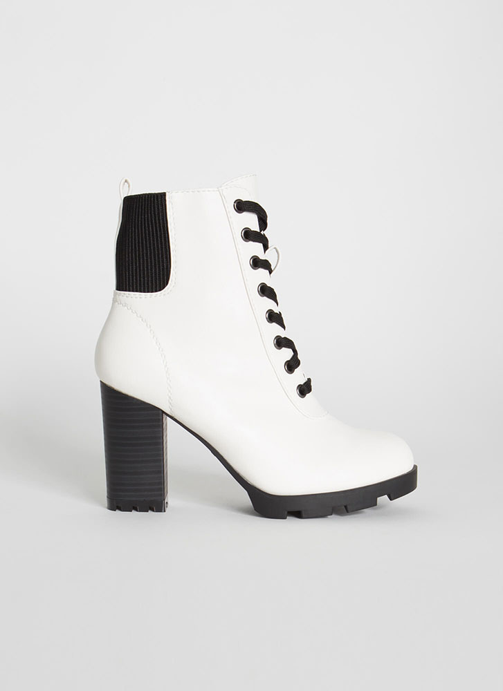 Happy Trails Chunky Faux Leather Booties WHITE