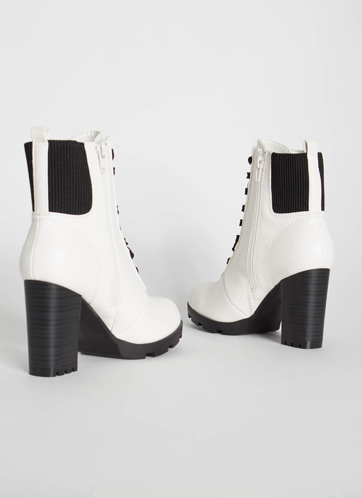 Happy Trails Chunky Faux Leather Booties WHITE (Final Sale)