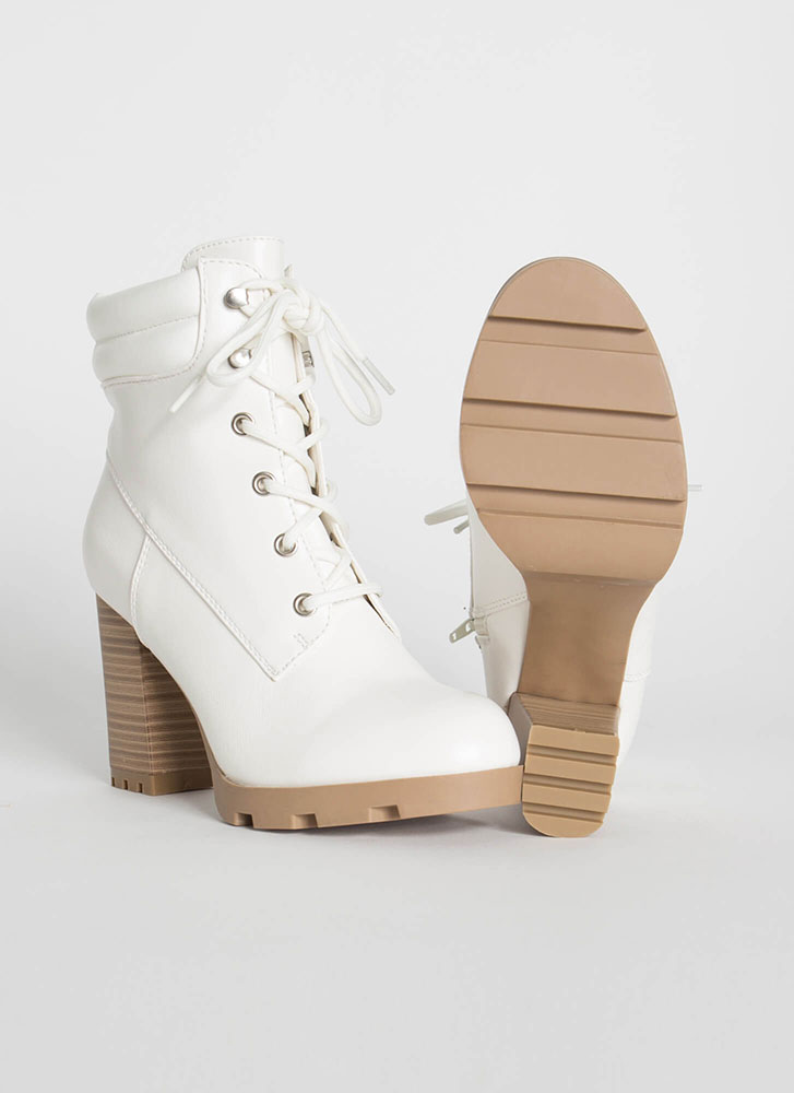 Get Collared Chunky Faux Leather Booties WHITE
