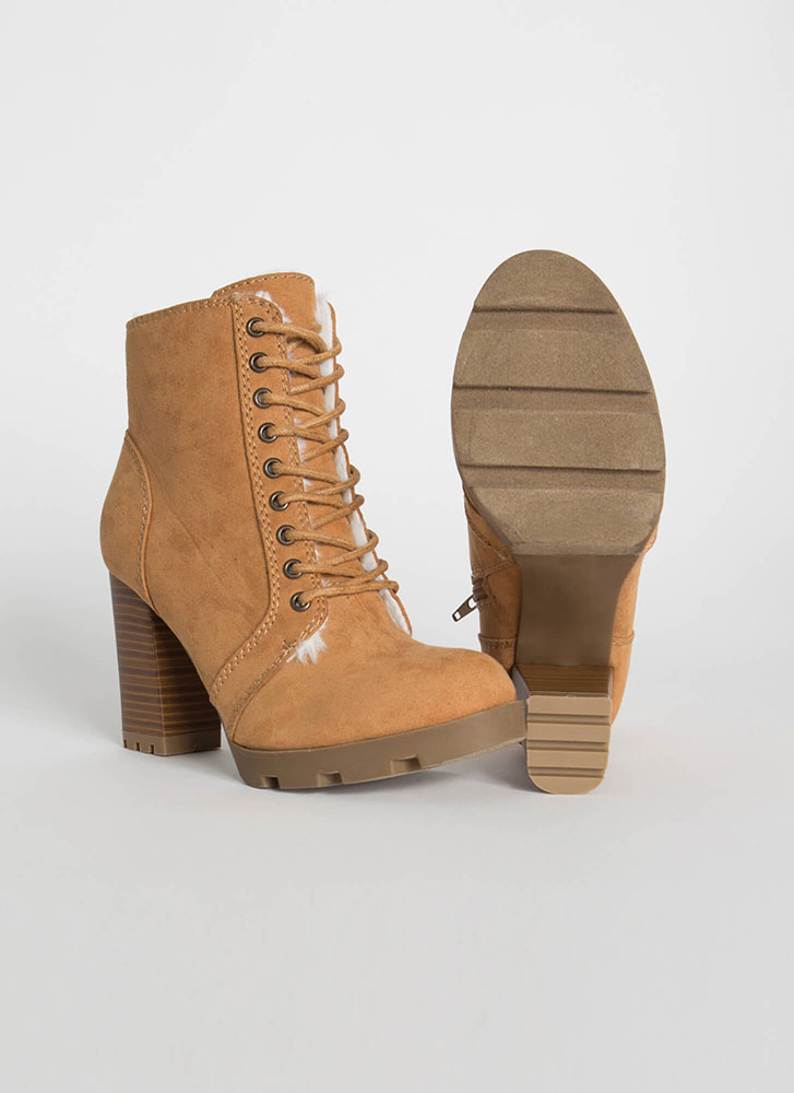 Made Fur You Chunky Faux Suede Booties TAN