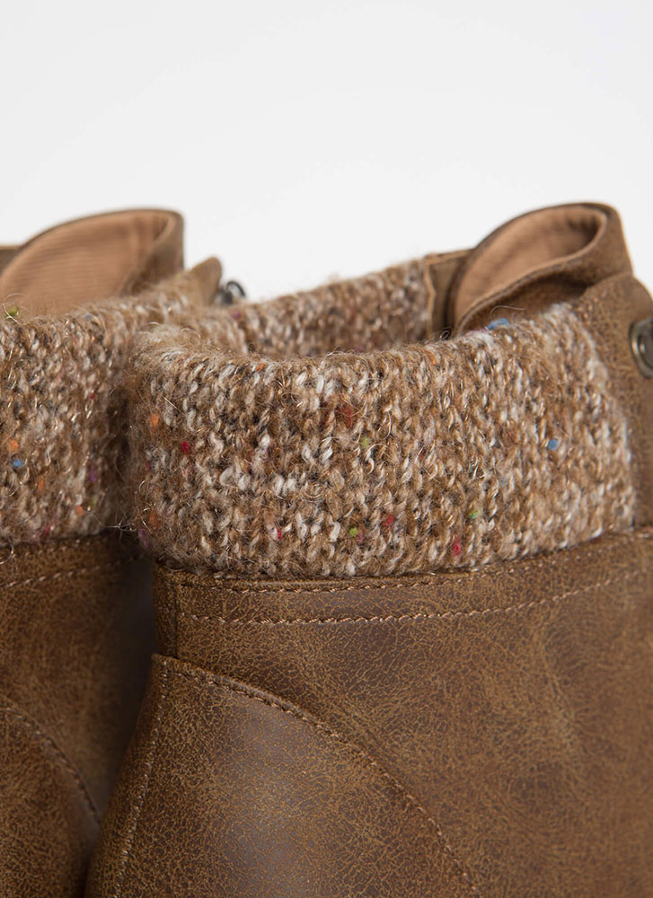Made Fur You Chunky Faux Leather Booties TAN