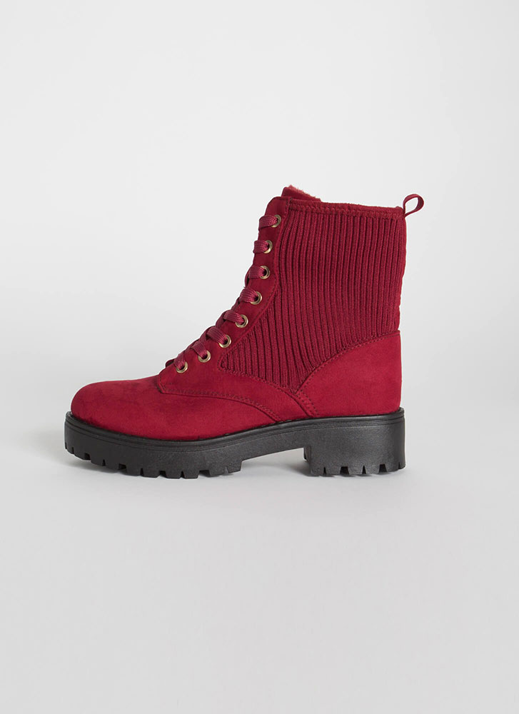 Knit Factor Faux Suede Combat Boots WINE