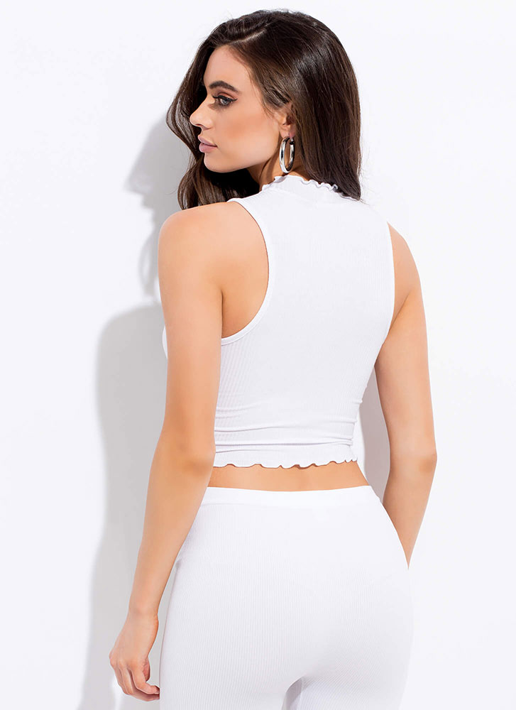 Get Your Frill Cropped Tank Top WHITE