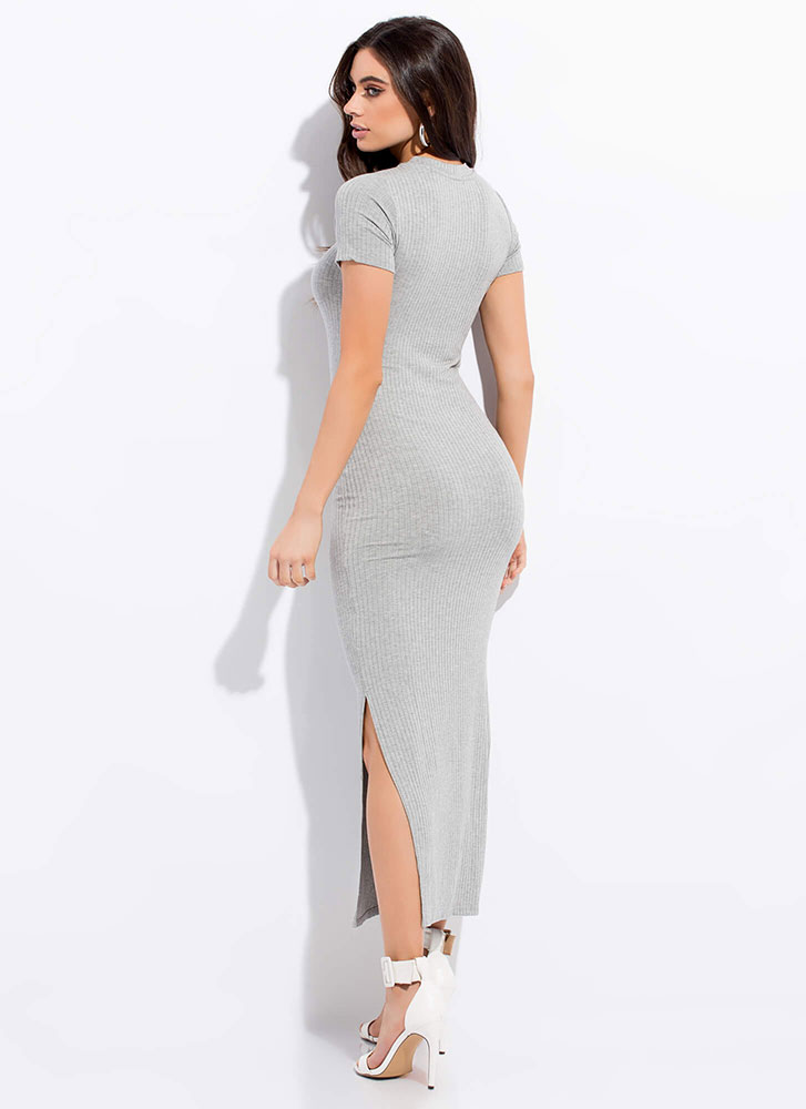 My Fave Ribbed Double Slit Maxi Dress HGREY