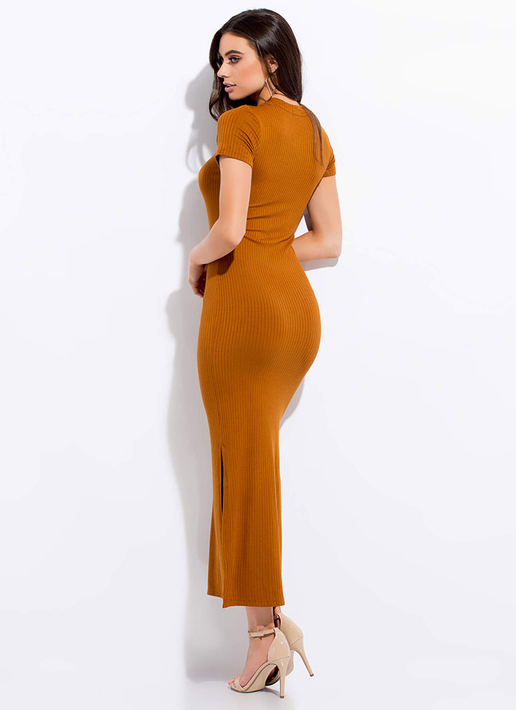 My Fave Ribbed Double Slit Maxi Dress TERRACOTTA