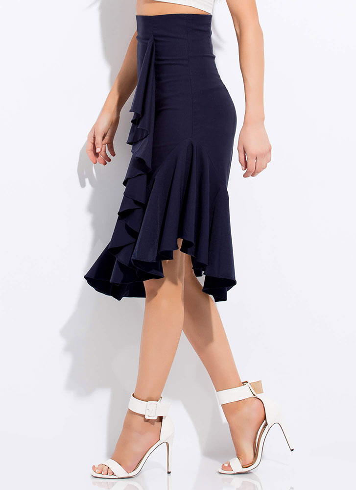 Set Into Motion Ruffled Midi Skirt NAVY