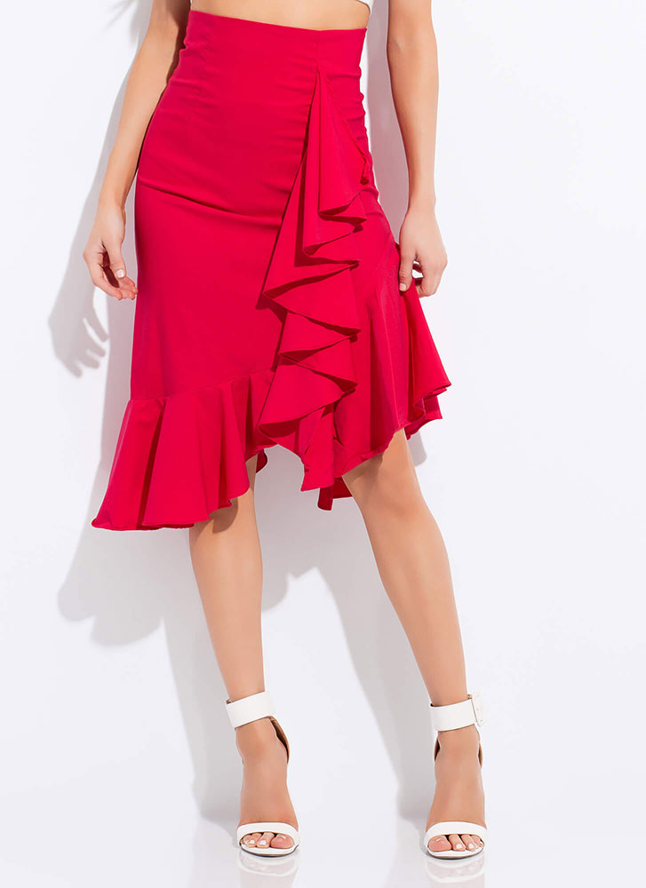 Set Into Motion Ruffled Midi Skirt RED