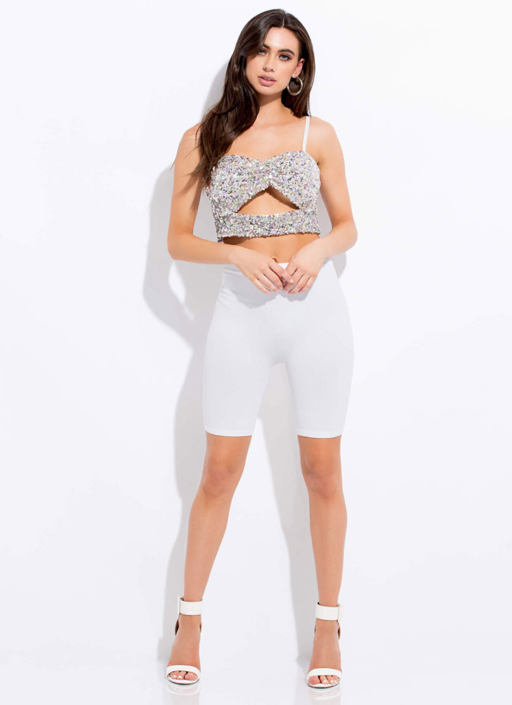 See Me Sparkle Cut-Out Sequin Crop Top SILVER