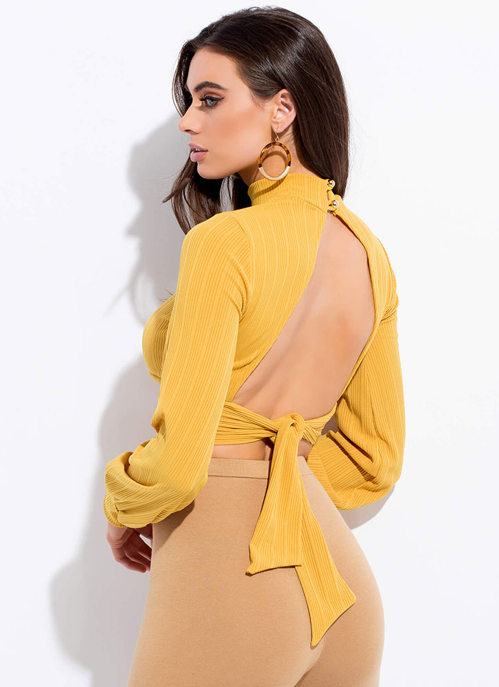 Cut Out For This Tie-Back Crop Top MUSTARD