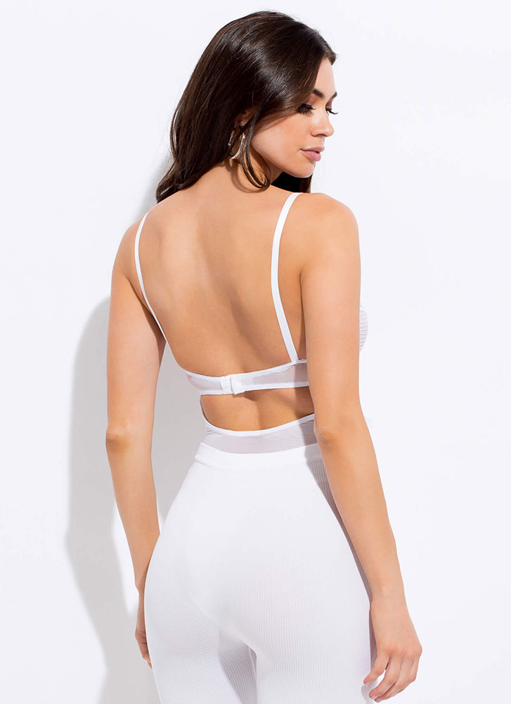 Sheer Confidence Mesh And Lace Bodysuit WHITE (Final Sale)