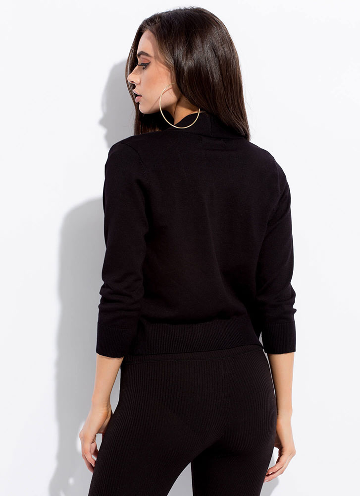 Warm And Comforting Knit Cardigan BLACK