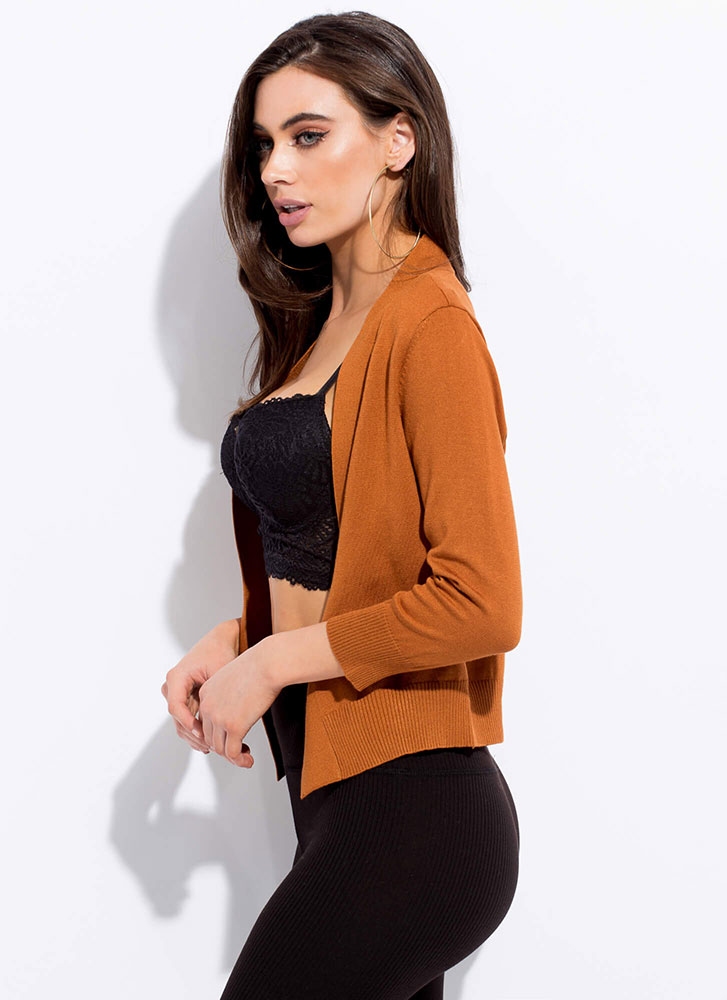 Warm And Comforting Knit Cardigan TERRACOTTA